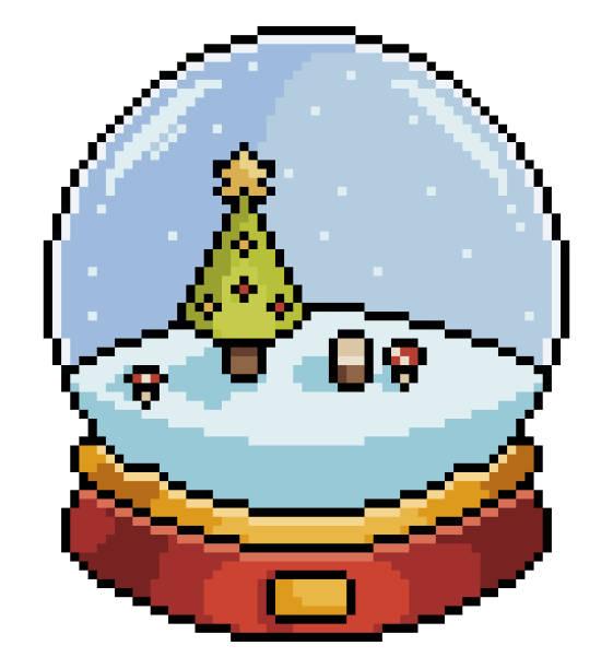 PIXEL ART CHRISTMAS SNOW GLOBE PIXEL ART CHRISTMAS SNOW GLOBE WITH CHRISTMAS TREE ITEM FOR GAME 8BIT ON WHITE BACKGROUND pedreiro stock illustrations