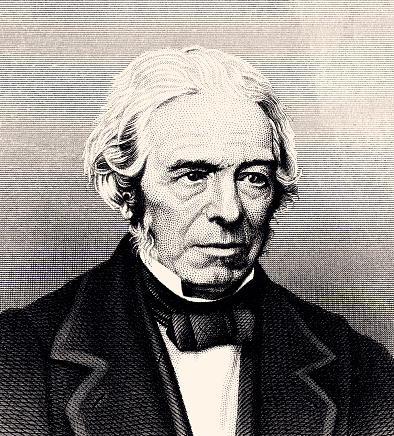 Michael Faraday (1791–1867) was an English scientist who contributed to the study of electromagnetism and electrochemistry. His main discoveries include the principles underlying electromagnetic induction, diamagnetism and electrolysis.Vintage etching circa late 19th century.