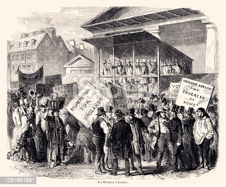 The elections in London in 1857.Vintage etching circa late 19th century.  Digital restoration by Pictore.