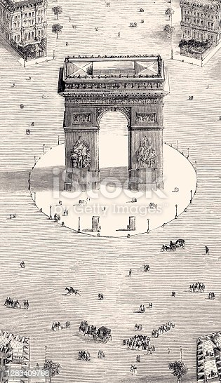 Arc de triomphe - Paris in 1857.Vintage etching circa late 19th century