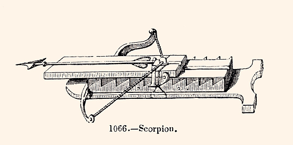 ANTIQUE CROSSBOW. Vintage etching circa late 19th century