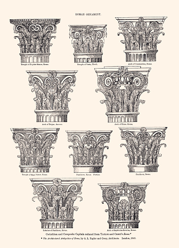 Corinthian and Composite Capitals reduced from G.L.TAYLOR and CRESY'S,1821. Vintage etching circa late 19th century.