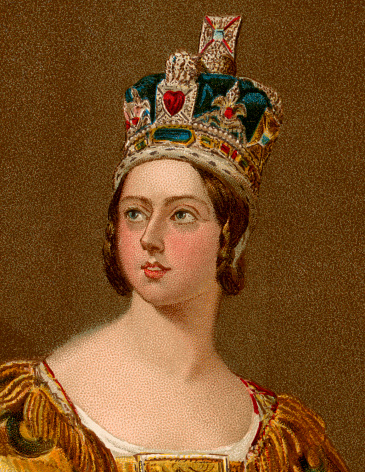 Portrait of Queen Victoria in 1837. Published by the Illustrated London News in 1897. Vintage engraving circa late 19th century