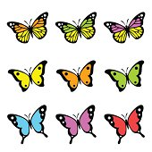 Simplified set of butterflies.