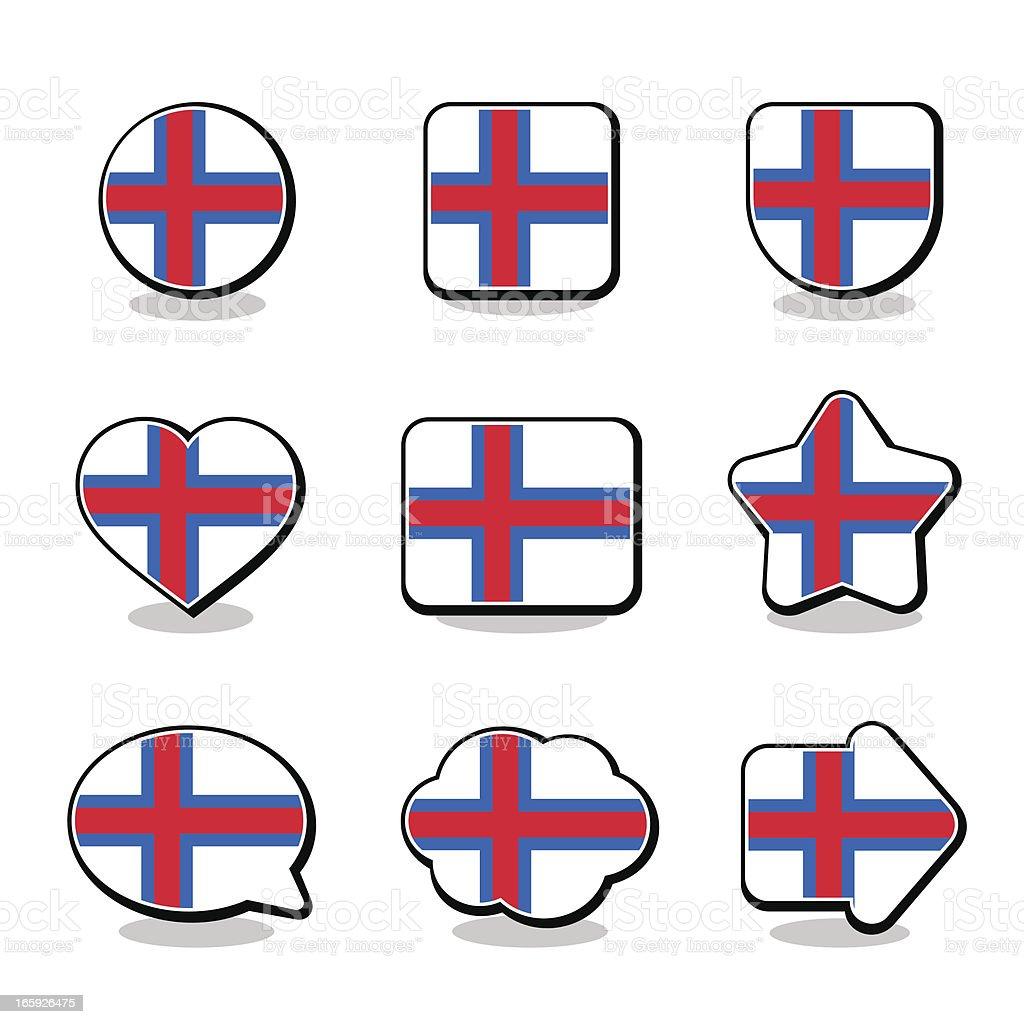 FAROE ISLANDS FLAG ICON SET royalty-free stock vector art
