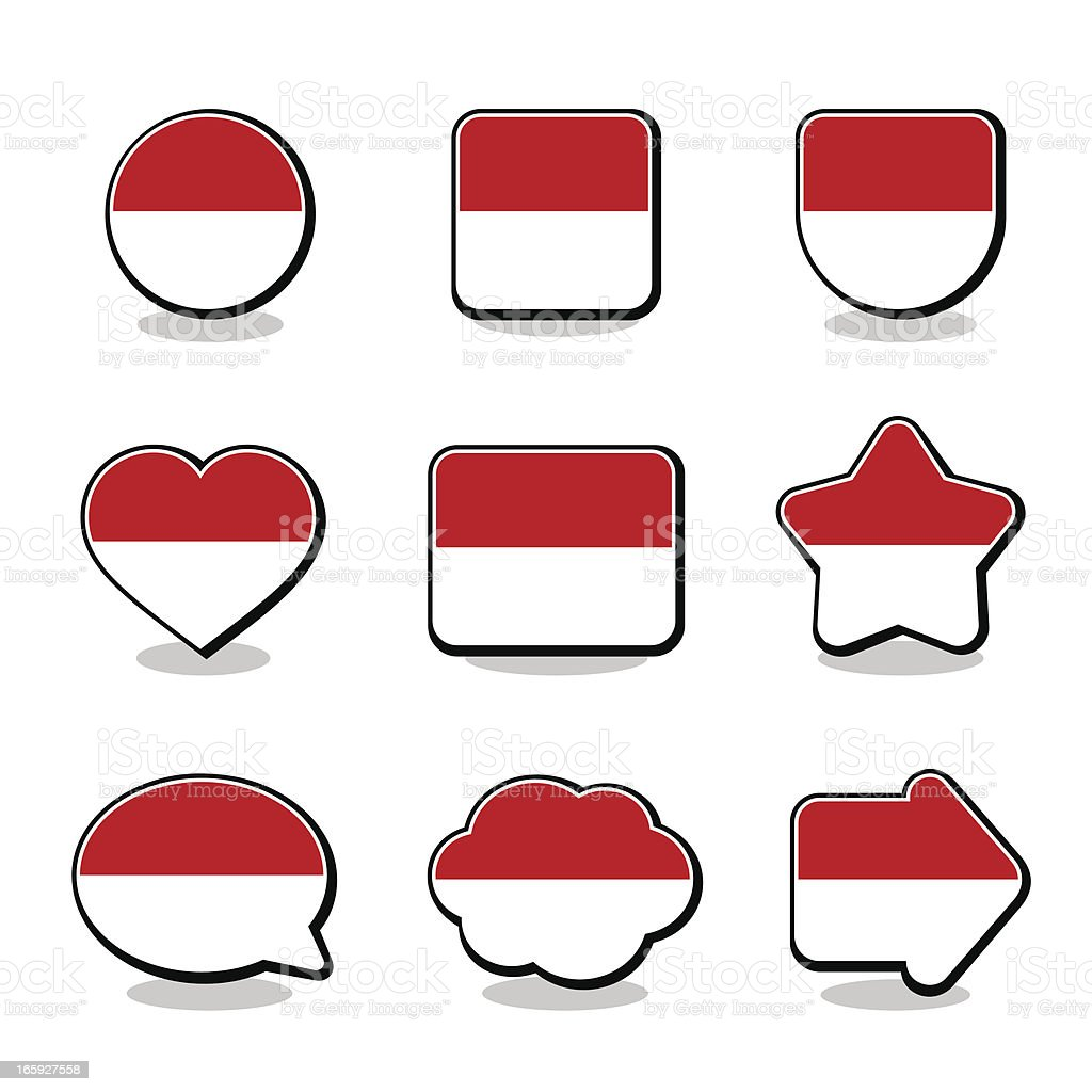 INDONESIA FLAG ICON SET royalty-free stock vector art