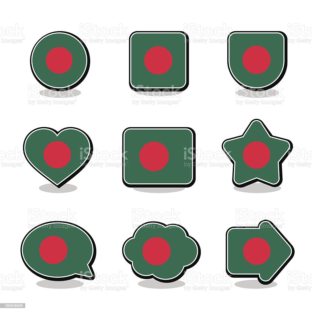 BANGLADESH FLAG ICON SET royalty-free stock vector art