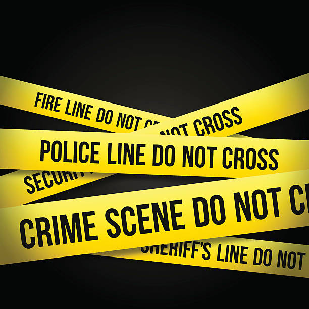 INVESTIGATION ZONE Caution Cordon Tape. crime scene stock illustrations
