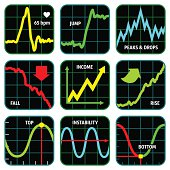 LINE GRAPH ICON SET
