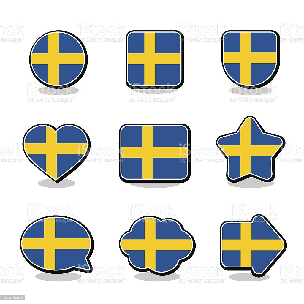 SWEDEN FLAG ICON SET royalty-free sweden flag icon set stock vector art & more images of arrow symbol