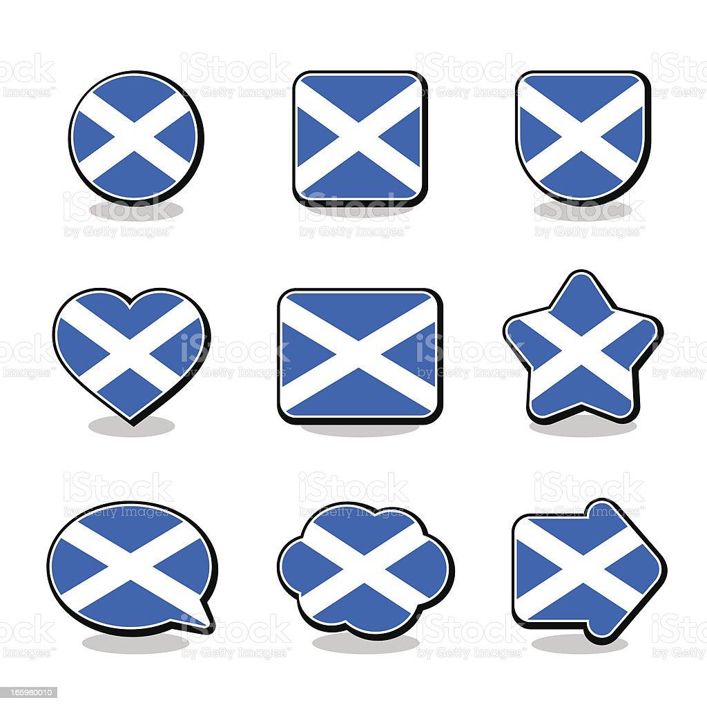 SCOTLAND FLAG ICON SET royalty-free stock vector art
