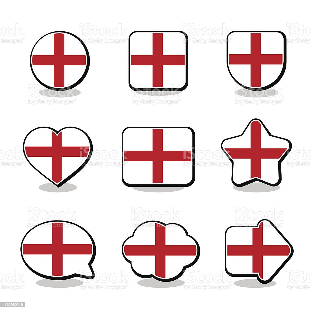 ENGLAND FLAG ICON SET royalty-free stock vector art