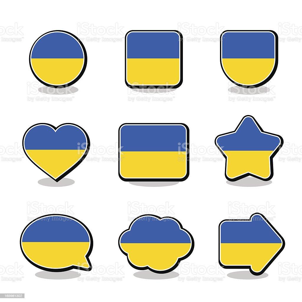 UKRAINE FLAG ICON SET royalty-free stock vector art