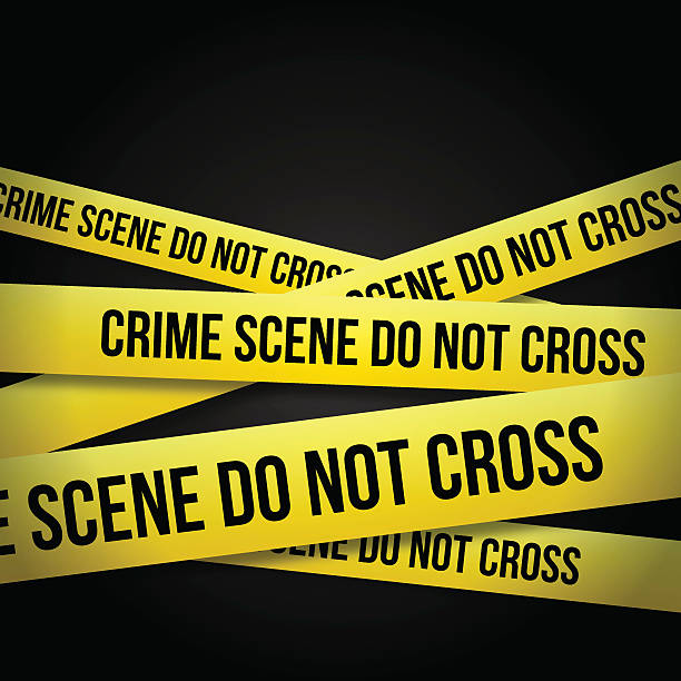 POLICE TAPE Crime scene do not cross tape. crime scene stock illustrations