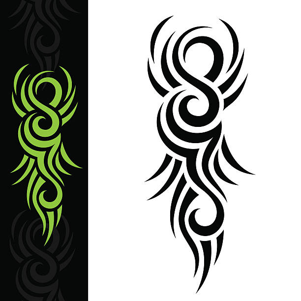 GREEN TATTOO Tribal Tattoo arcane stock illustrations
