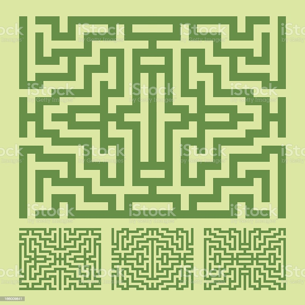GREEN LABYRINTH PATTERN royalty-free stock vector art