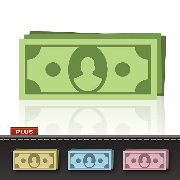 MONEY CASH Illustration of a money stack in four colours. american one hundred dollar bill stock illustrations