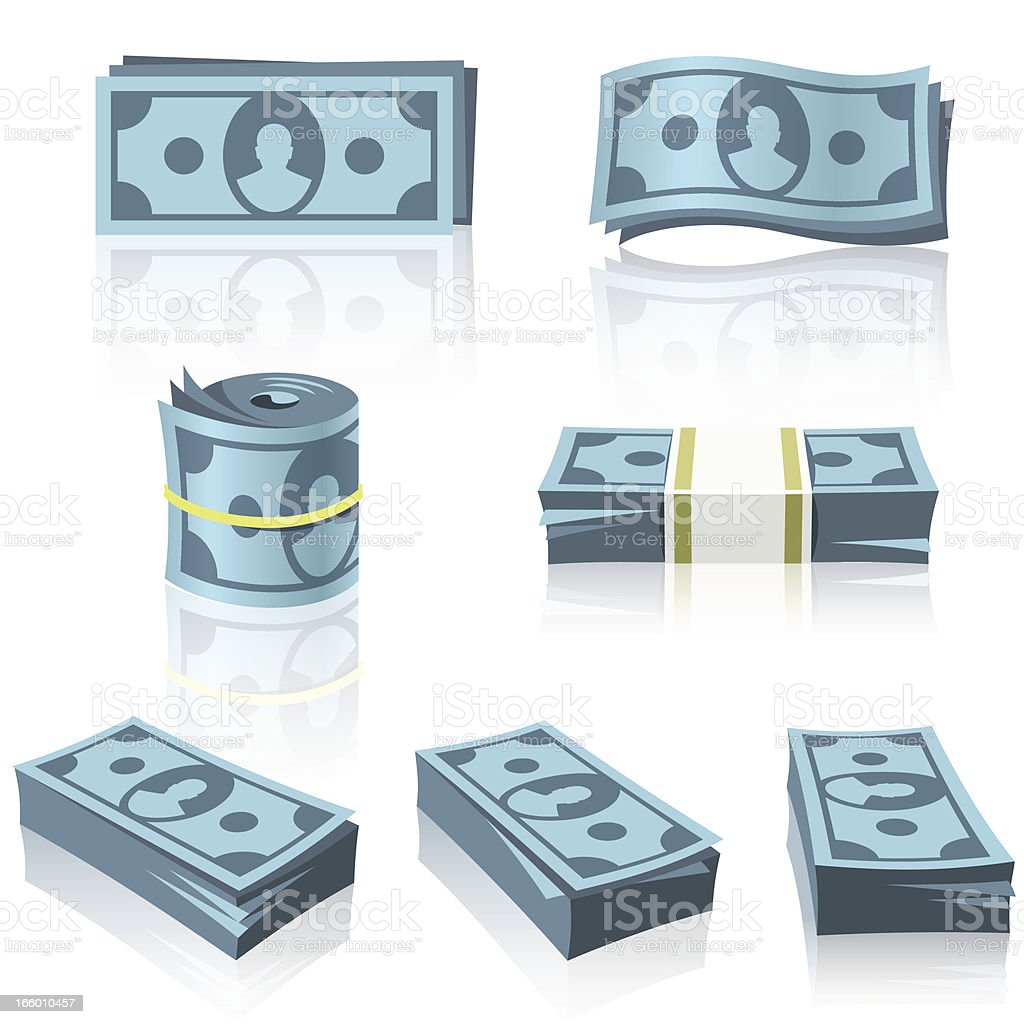 BLUE MONEY STACKS vector art illustration