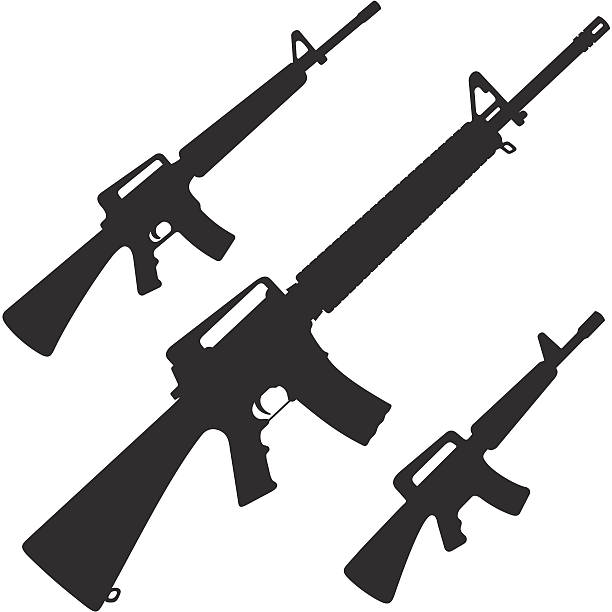 M16 Silhouettes of the M16 and simplified versions ar 15 stock illustrations