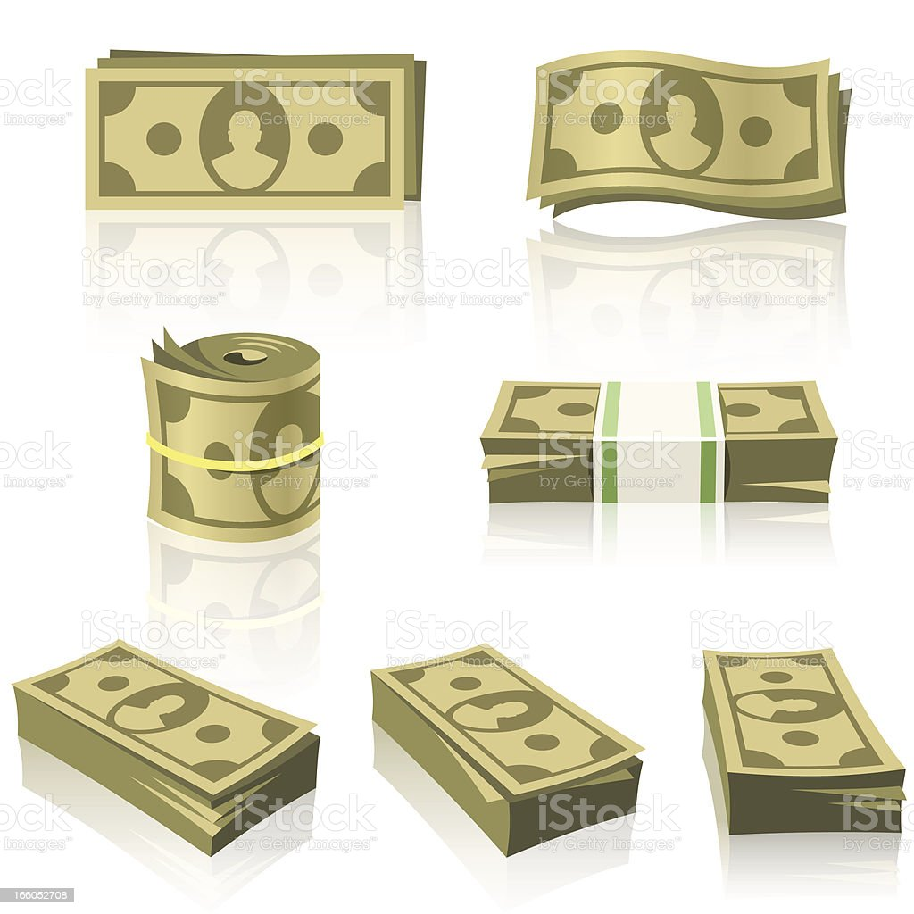 YELLOW MONEY STACKS vector art illustration