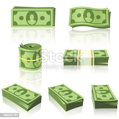 Set of a green money stacks.
