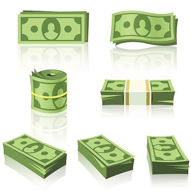 green money stacks - dollar bill stock illustrations