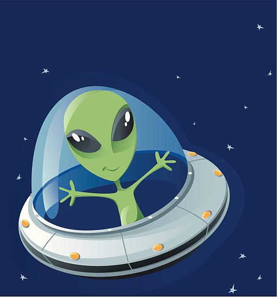 stockillustraties, clipart, cartoons en iconen met ufo - buitenaards wezen