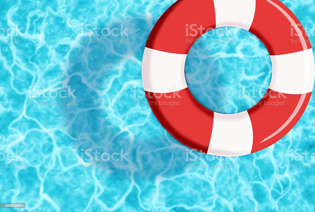 RUBBER RING ON WATER PROJECTING A SHADOW vector art illustration
