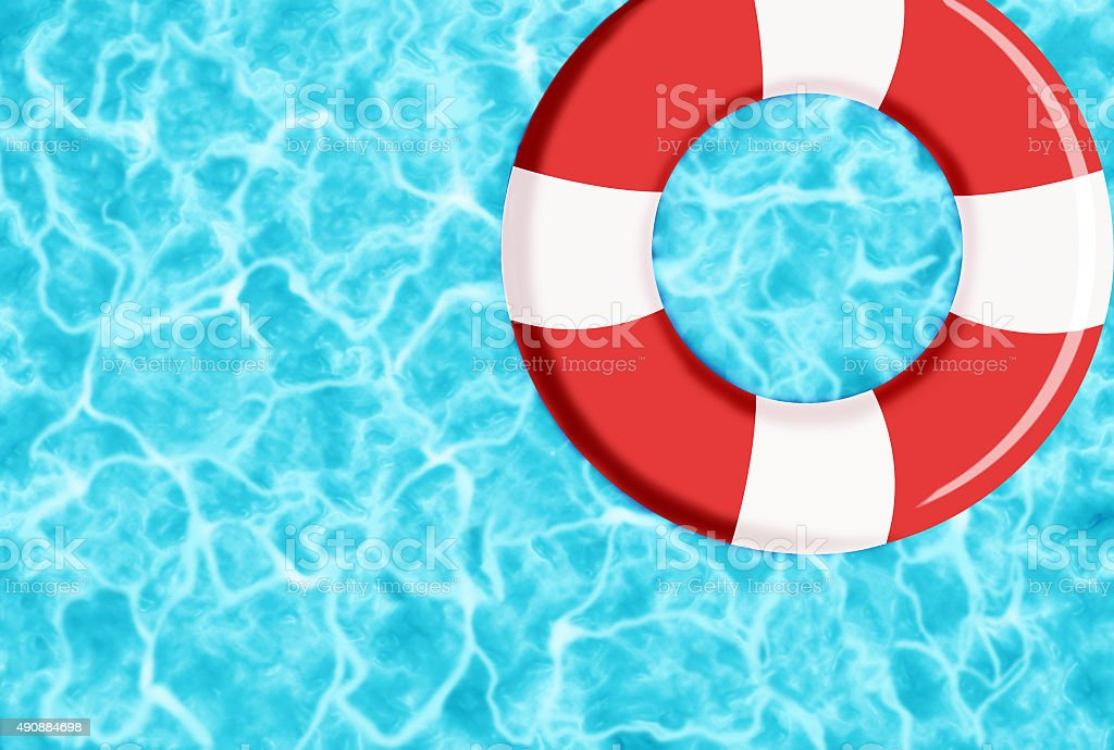 RUBBER RING ON WATER vector art illustration