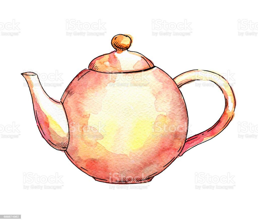 нарисованный вручную акварелью чайник vector art illustration