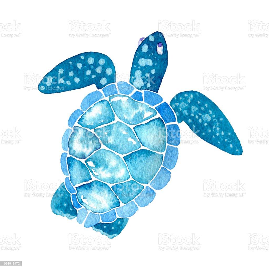нарисованная вручную на белом фоне морская черепаха vector art illustration
