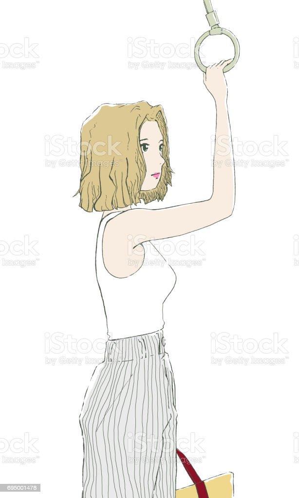 つり革を掴む女性 vector art illustration