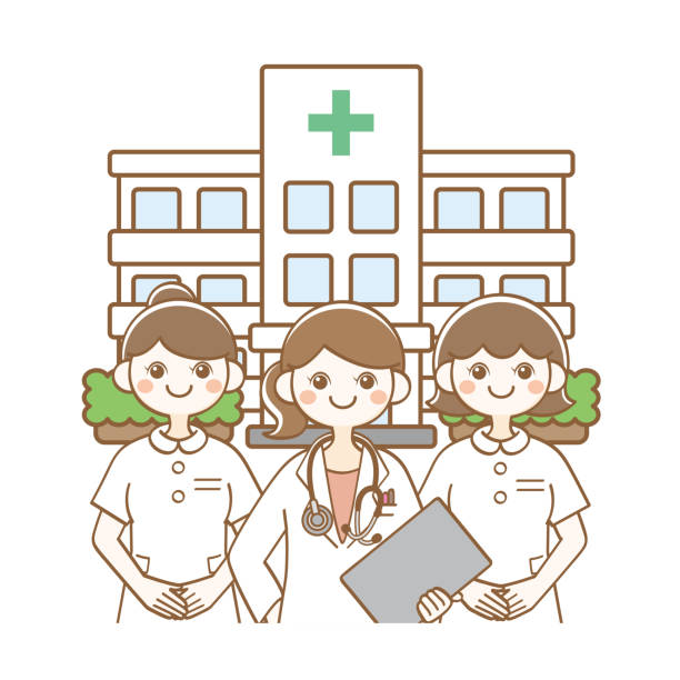 病院 医者 看護師 病院のイラストです。 病院 stock illustrations