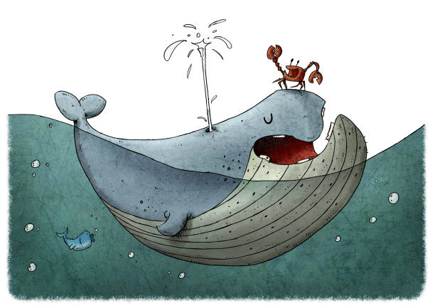 101/5000Children's illustration of a fun and colorful whale in the water, a crab is on top of it. white background vector art illustration