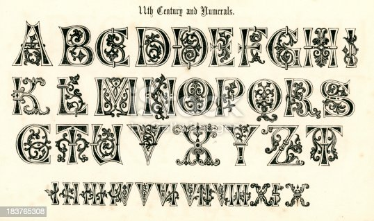 Vintage engraving of the alphabet in an 11th century medieval style from the Book of Ornamental Alphabets by  F.G. Delamotte published in 1879 now in the public domain