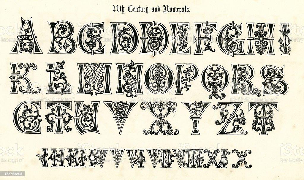 11th Century Medieval Alphabet and Numerals vector art illustration