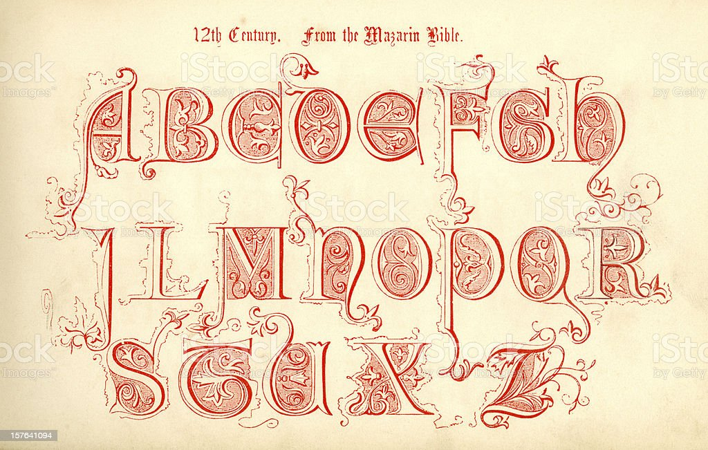 12th century lettering from the Mazarin Bible vector art illustration