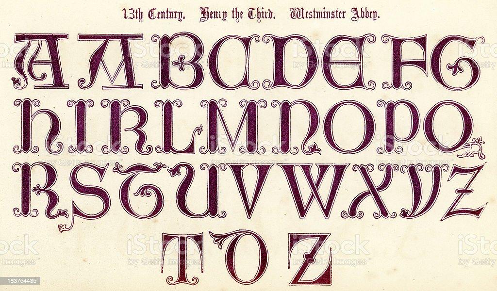 13th Century Style Alphabet vector art illustration