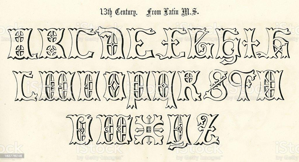 13th Century Style Alphabet - Illustration .