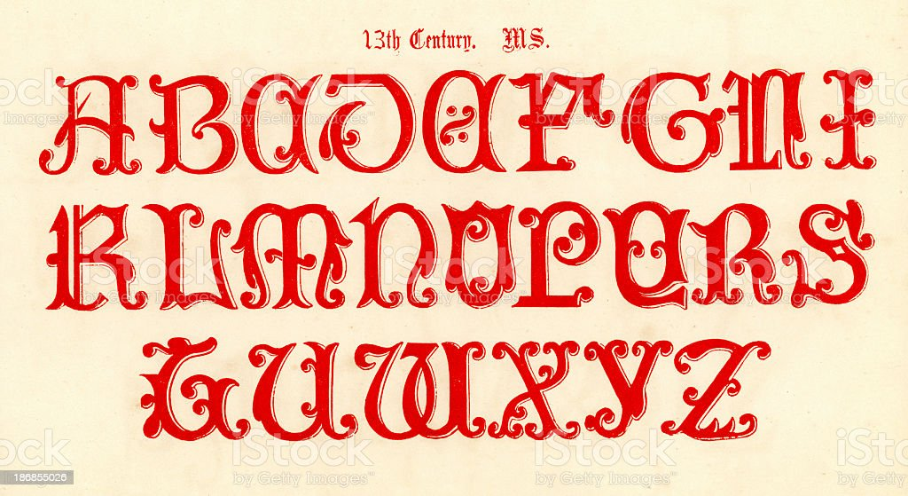 13th Century Style Alphabet royalty-free stock vector art