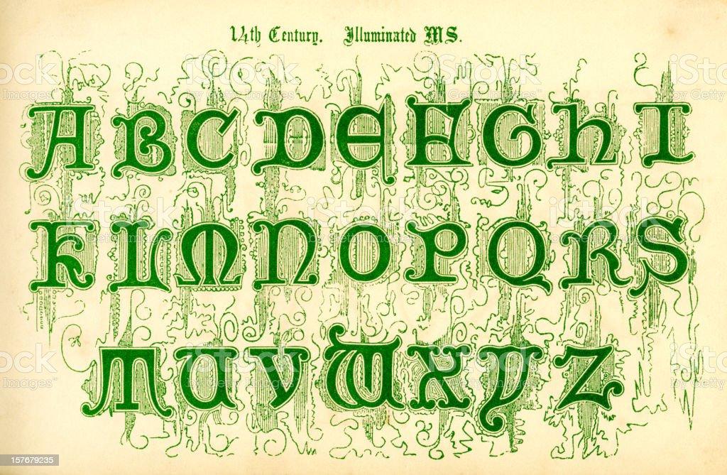 14th century illuminated letters vector art illustration