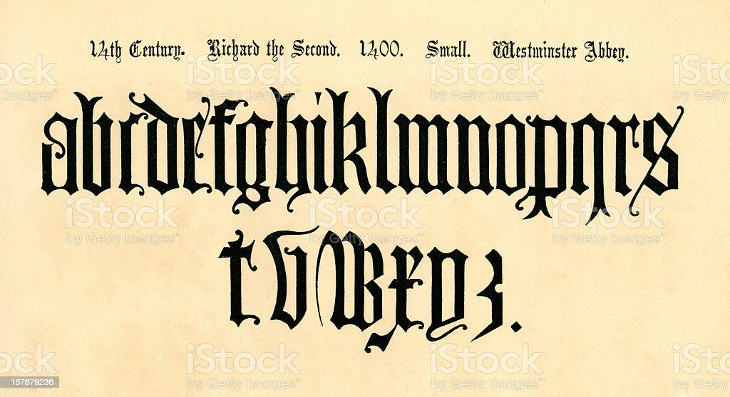 14th century lower case letters, reign of Richard II vector art illustration