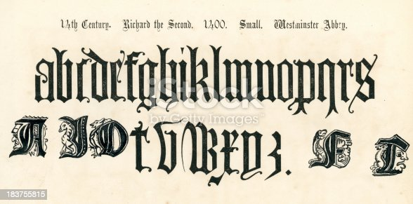 Vintage engraving of the alphabet in an 14th century medieval style from the Book of Ornamental Alphabets by  F.G. Delamotte published in 1879 now in the public domain