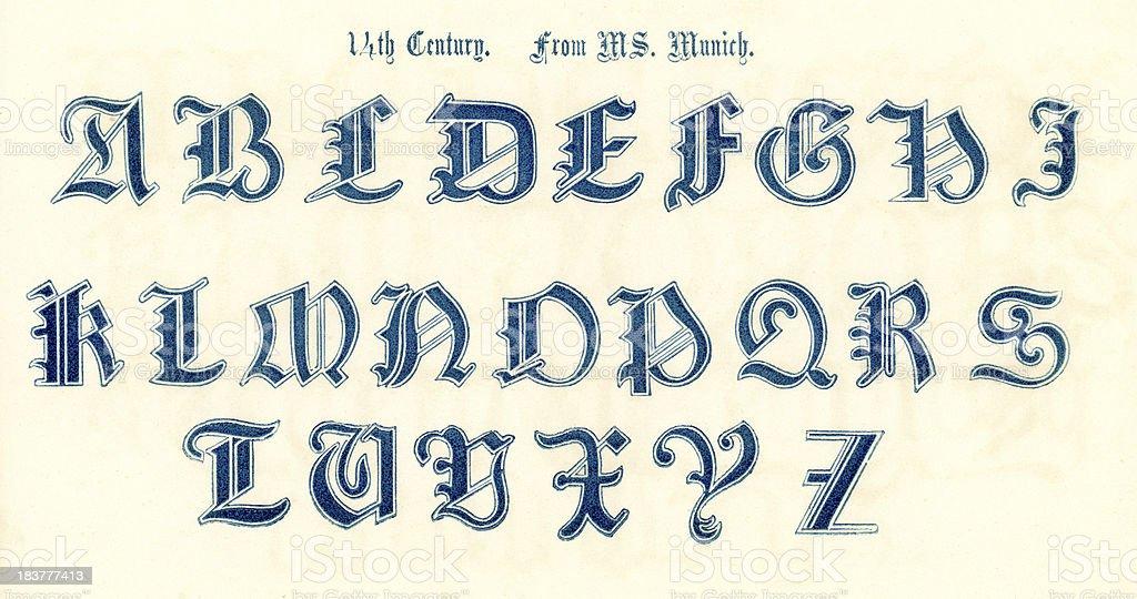 Beliebt 14 ème Siècle Alphabet De Style Stock Vecteur Libres de Droits  JZ37
