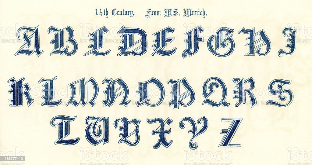 14th Century Style Alphabet royalty-free stock vector art