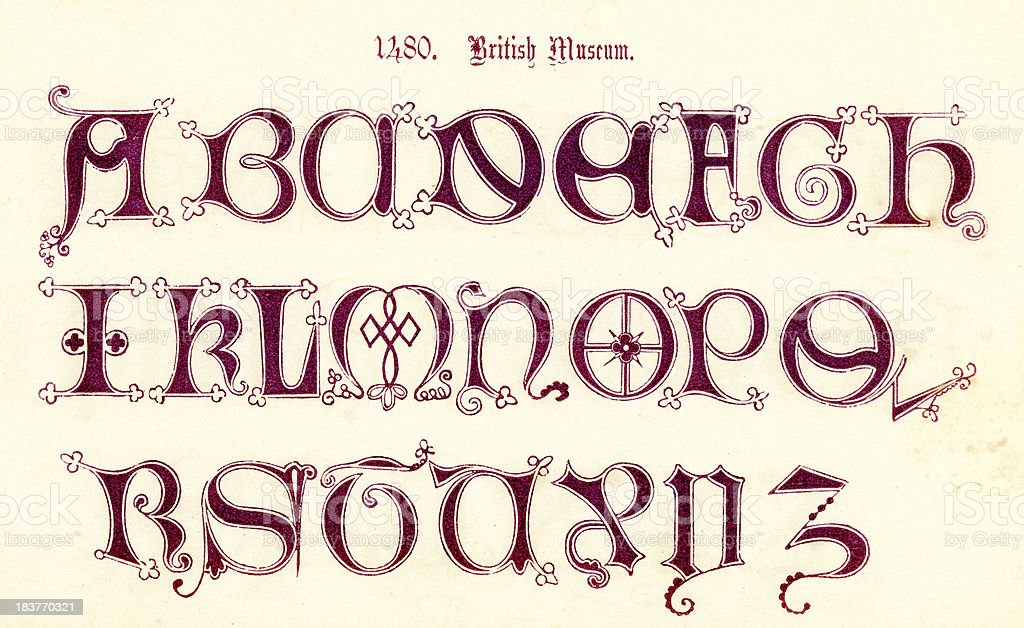 15th Century Style Alphabet royalty-free 15th century style alphabet stock vector art & more images of alphabet