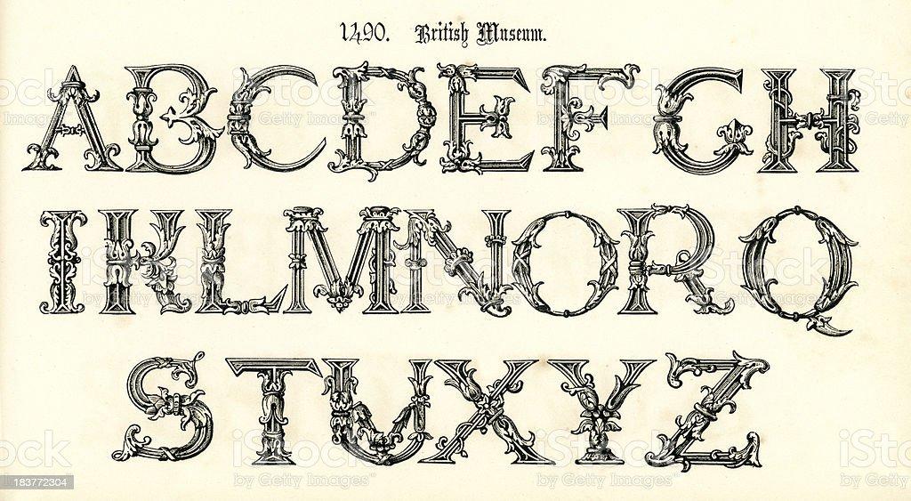 15th Century Style Alphabet royalty-free stock vector art