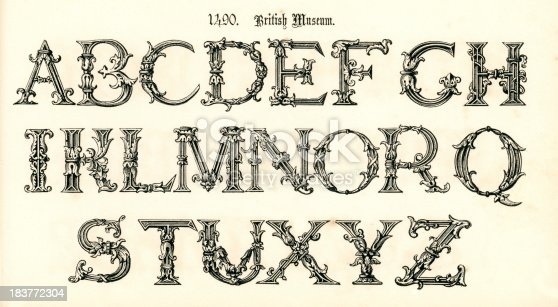 Vintage engraving of the alphabet in a 15th century medieval style from the Book of Ornamental Alphabets by  F.G. Delamotte published in 1879 now in the public domain