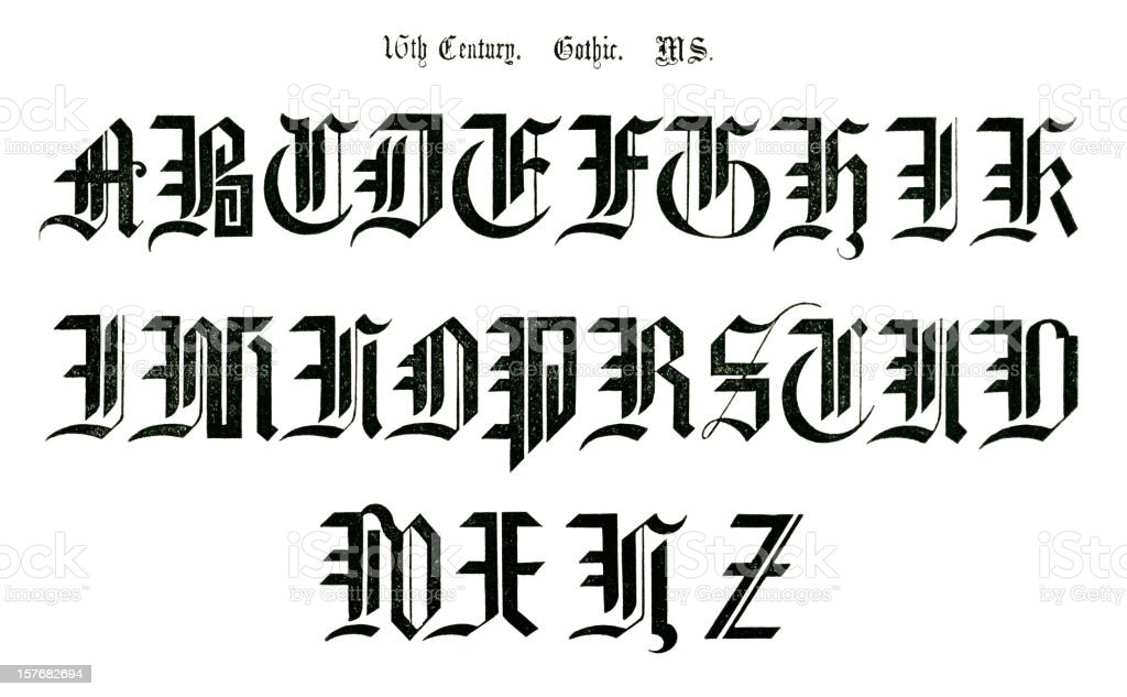 16th Century Gothic Lettering From An Old Manuscript Royalty Free
