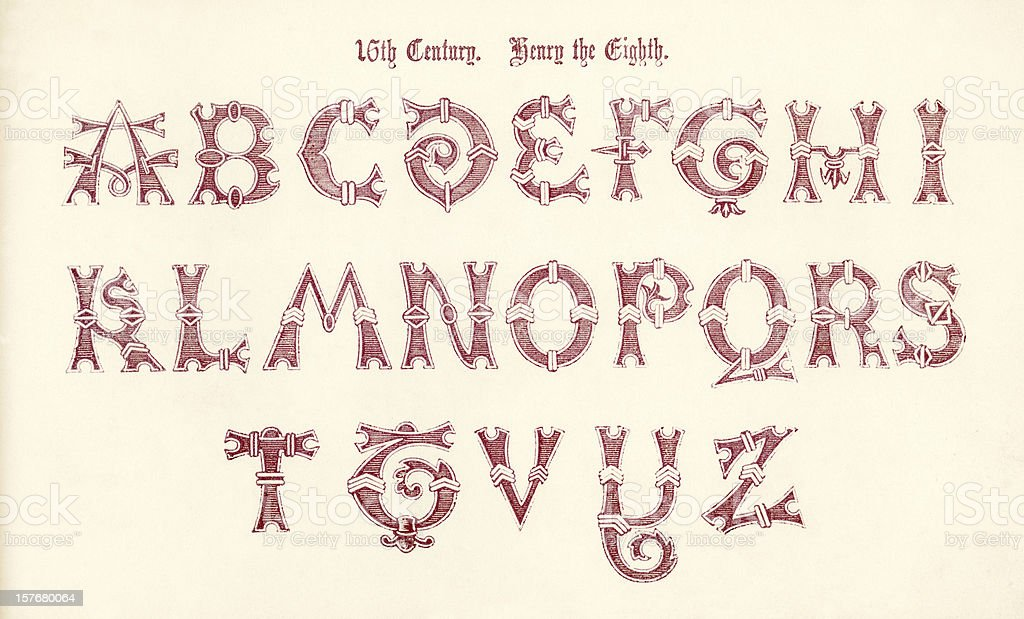 16th century lettering, reign of Henry VIII royalty-free 16th century lettering reign of henry viii stock vector art & more images of 16th century style